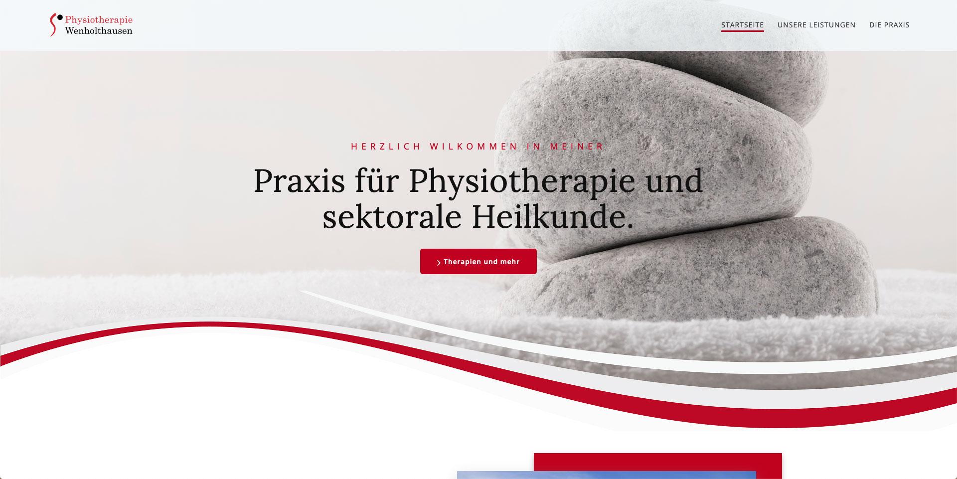 Internet-Auftritt und Online-Shop, Homepage, Webpräsenz, Physiotherapie Wenholthausen
