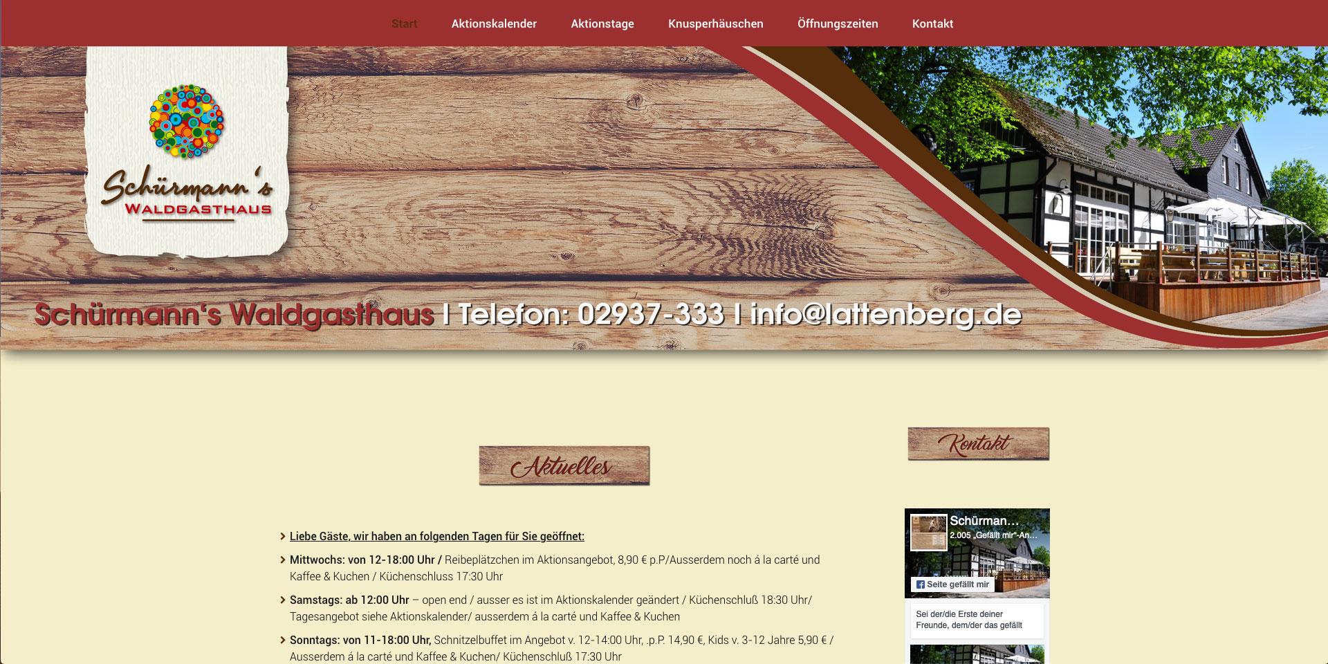 Internet-Auftritt und Online-Shop, Homepage, Webpräsenz, Schürmanns Waldgasthaus