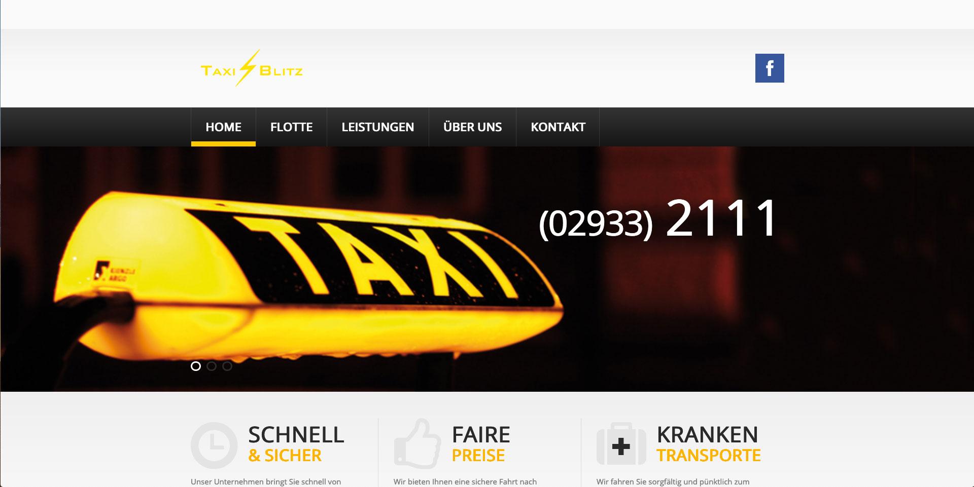 Internet-Auftritt und Online-Shop, Homepage, Webpräsenz, Taxi Blitz